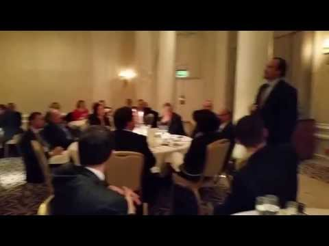 Jim Belushi talking to British Albanians at the Waldorf Hilton Hotel, London, 3 November 2014