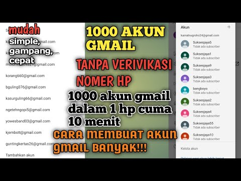 Cara Membuat Akun Gmail Banyak Tanpa No Hp 1000 Akun Dalam 1 Hp Youtube
