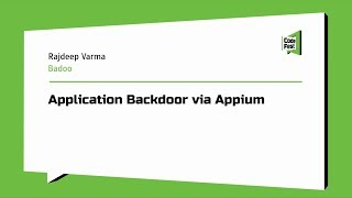 #QA,  Rajdeep Varma,  Application Backdoor via Appium