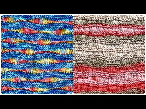 МК: Волнообразный узор с вытянутыми петлями+ИДЕИ ДЛЯ ВДОХНОВЕНИЯ