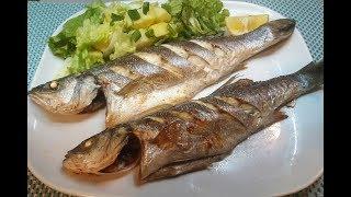 Запеченная рыба в рукаве и салат.  Сибас (окунь, судак, дорадо ) / Levrek firinda
