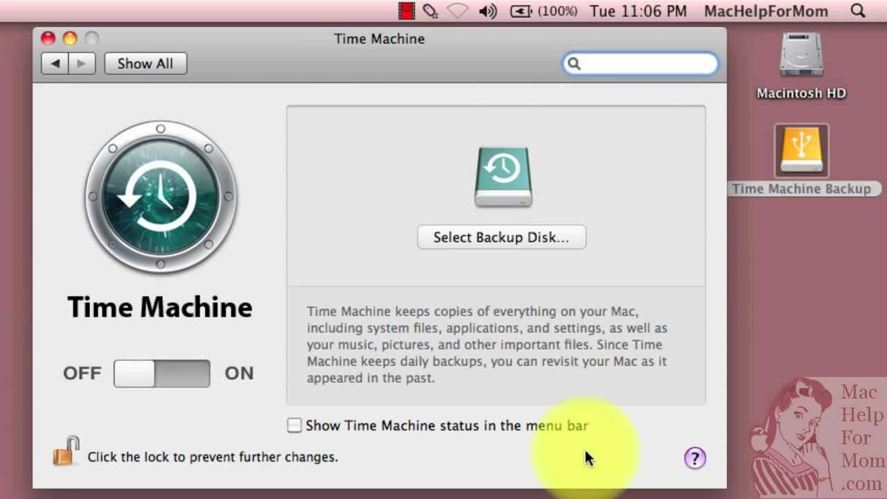 how to set up time machine with external drive