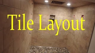 how to plan a layout for a tile shower with a running bond pattern