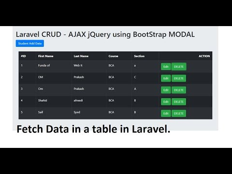 Repeat AJAX CRUD - Laravel: Insert Data without Page Reload using