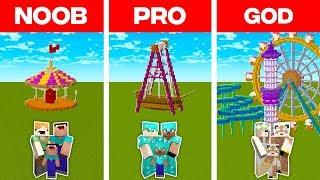 Minecraft NOOB vs. PRO vs. GOD: FAMILY THEME PARK BULD CHALLENGE in Minecraft (Animation)