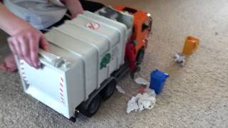 Bruder toy garbage truck side and back loader