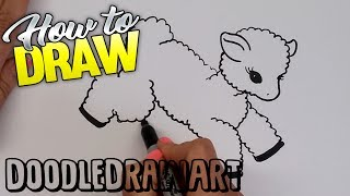 How to Draw a Cartoon Baby Lamb Step by Step | How to draw Baby Animals | Farm Animals