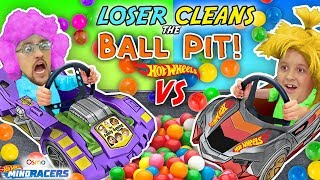 LOSER CLEANS BALL PIT BALLS: HOTWHEELS RACE! FGTEEV Father vs Son OSMO MIND RACERS iPad App Game! thumbnail