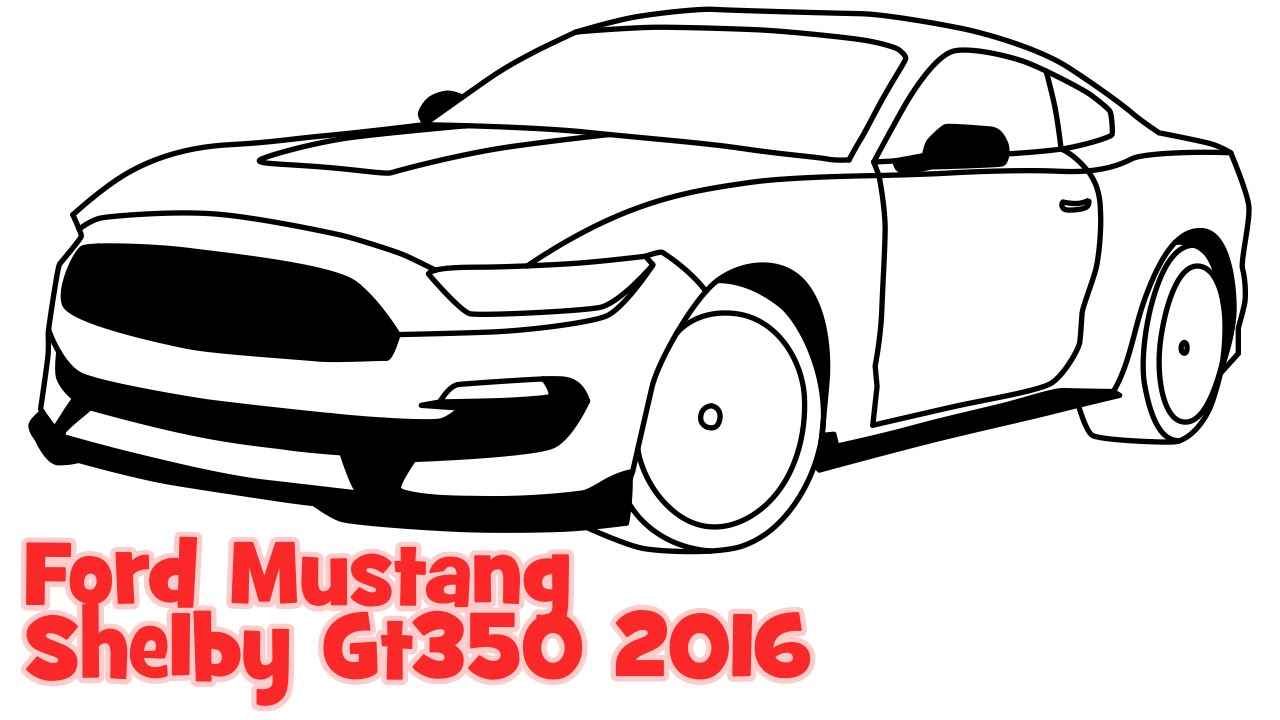 Cars 30k >> How to draw a car Ford Mustang Shelby GT350 2016 step by step easy sportcar - YouTube