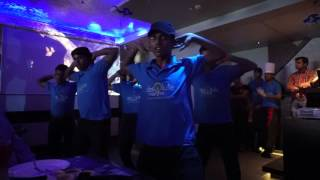 Dance performance by the waiters at Absolute Barbecues, Hyderabad.
