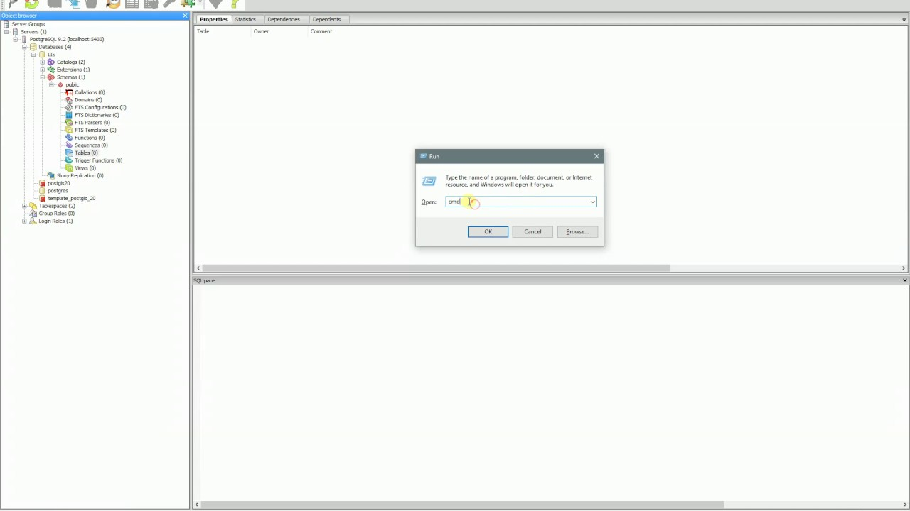 PostgreSQL - psql exe - Restore Database using command
