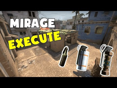 CS:GO TUTORIAL - Mirage Execute B site - MOLOTOV SMOKE & FLASH thumbnail