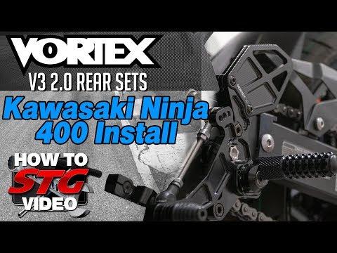 Vortex Racing Kawasaki Ninja 400 Rear-sets 2018-2019 Install/Review | Sportbike Track Gear