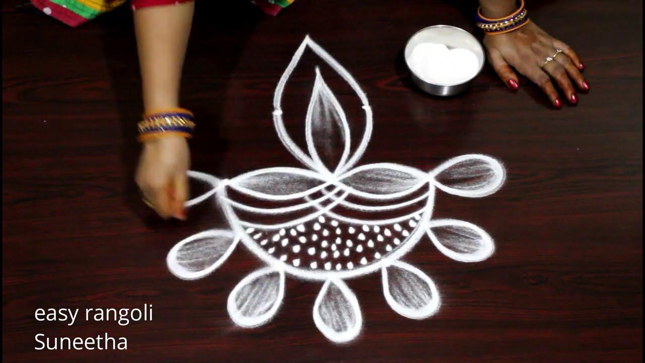 2 Amazing Diya rangoli & kolam designs by Suneetha || Easy 3 dots Deepam rangoli muggulu