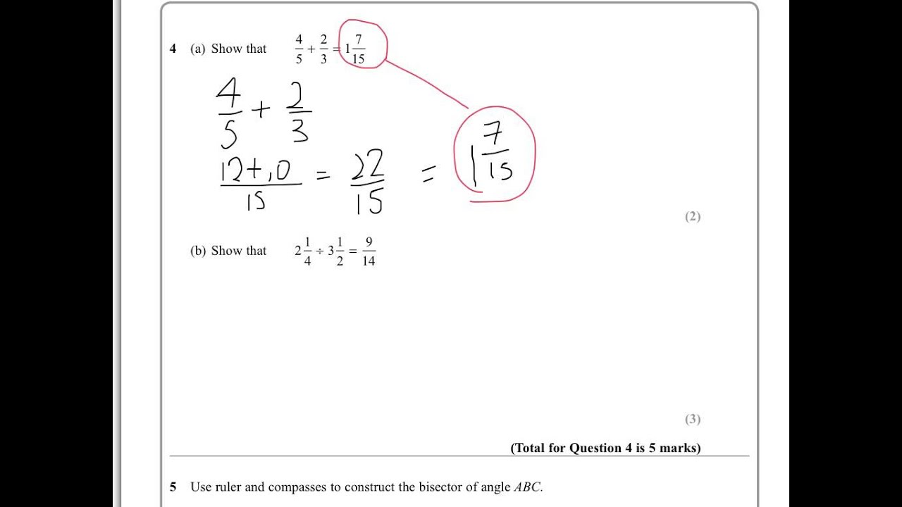 Edexcel iGCSE Mathematics A 4MA0/4HR 15 January 2014 Q4