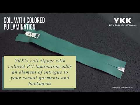 YKK Coil Zipper with Colored PU Lamination