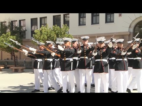 Marine Corps Silent Drill Platoon At Galileo High School