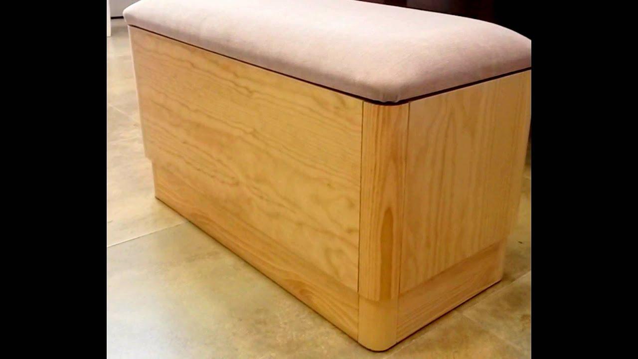 Banqueta descalzadora con ba l madera pino for Baul madera barato