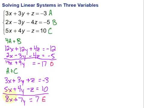 Solving Linear Systems in Three Variables - Another ...
