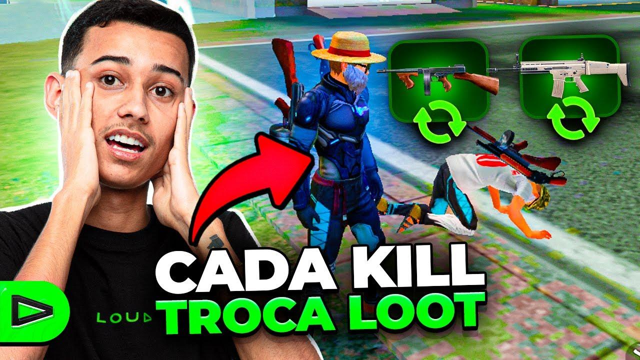 A CADA KILL TROCA DE LOOT COM O INIMIGO NO FREE FIRE!! LOUD
