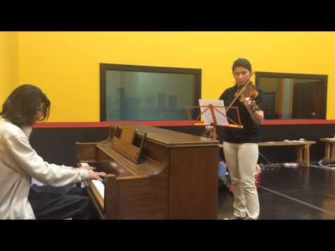 Andrea (Violin Student) and Gabriel (Piano student) duet rehearsal.