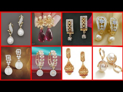 New fancy Pearl drop gold earring designs collection