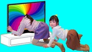 魔法のどこでもテレビ遊園地ごっこ遊び!おままごと Hanemari Play Magical anywhere TV Outdoor Playground