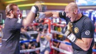 Tyson Fury SMASHES PADS - Las Vegas Debut GRAND ARRIVAL/ PUBLIC WORKOUT