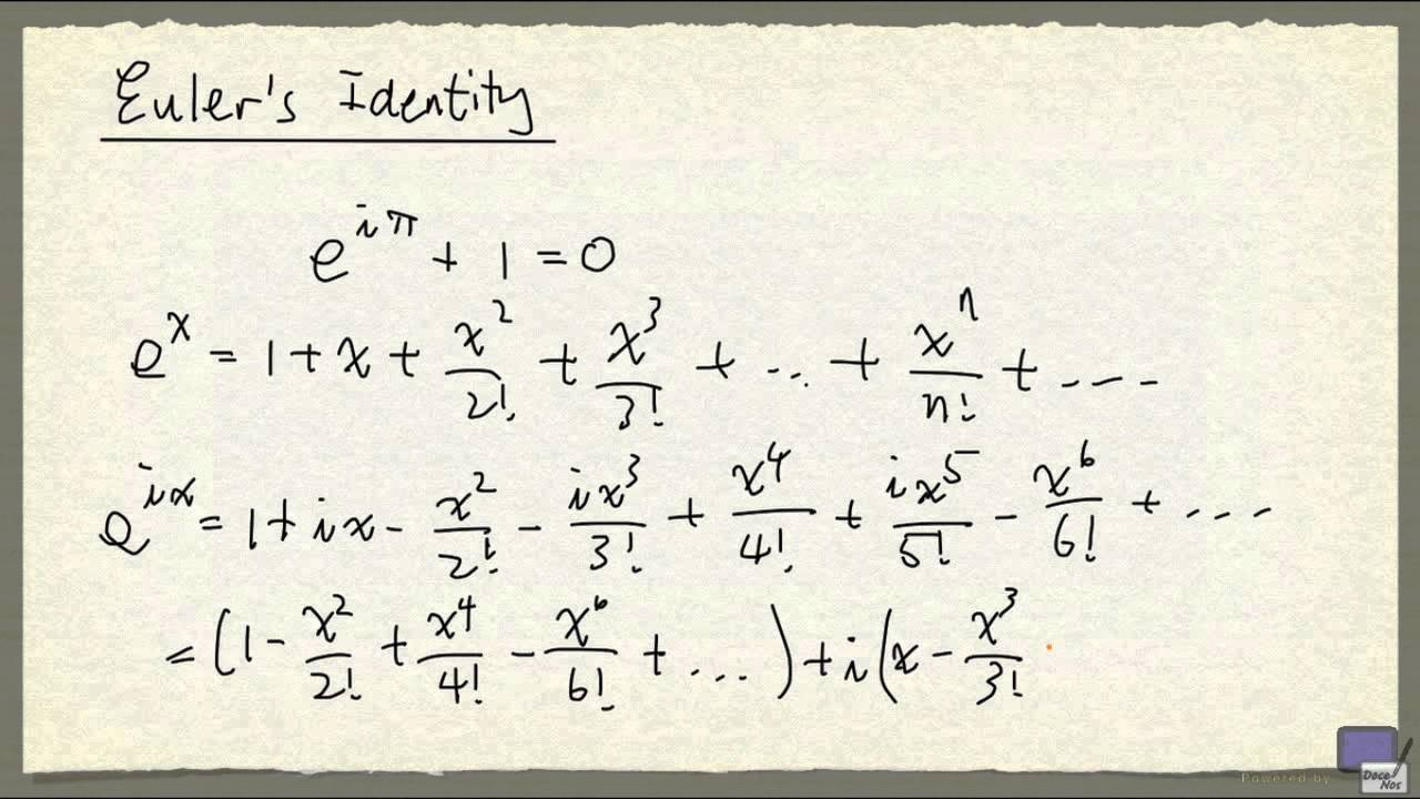 Week 2 - Euler's identity - an incomplete proof by today's ...