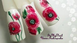 🌸Рисуем мак на ногтях🌸Китайская роспись гель лаком🌸Дизайн ногтей гель лаком🌸Nail Design Shellac🌸