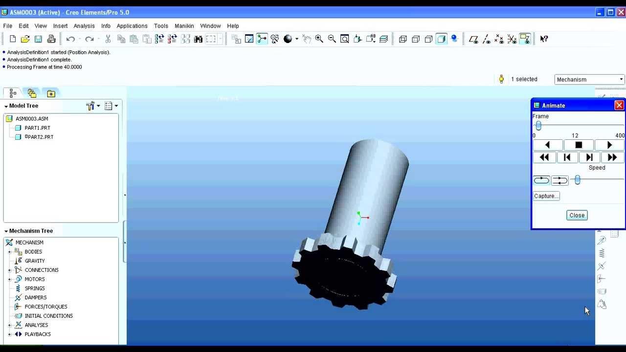 Animation And Mechanism Through Servo Motor On Creo Pro E