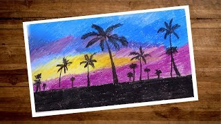 Landscape Drawing With Oil Pastel   Oil Pastel Drawing For Beginners   Scenery Drawing