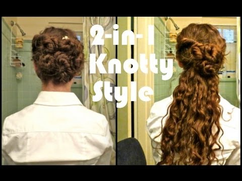 Curly Hairstyle Formal Prom 2 In 1 Knotted Style