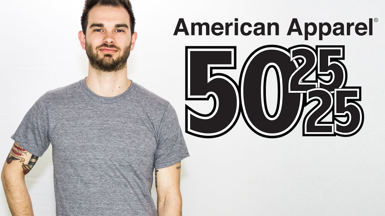 custom american apparel triblend 50 25 25 t shirt on a guy