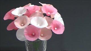(クレープ紙)簡単!春らしくて可愛いペーパーフラワーの作り方【DIY】(Crepe paper) Easy! Cute paper flower