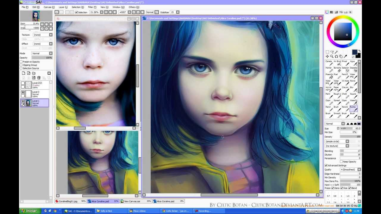 How To Color Hair On Paint Tool Sai