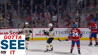 GOTTA SEE IT: David Pastrnak Records Hat Trick Against Canadiens In Half A Game