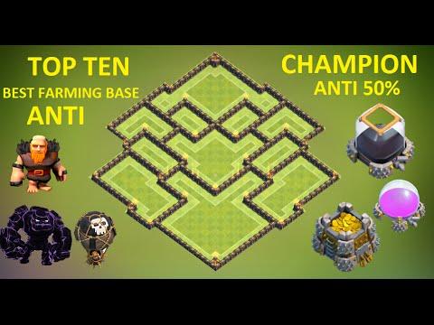 Town Hall 9 ( Th9 ) Farming base ANTI 50% Gold & Dark Elixir ANTI Giant , Gowipe , Lava + Balloon