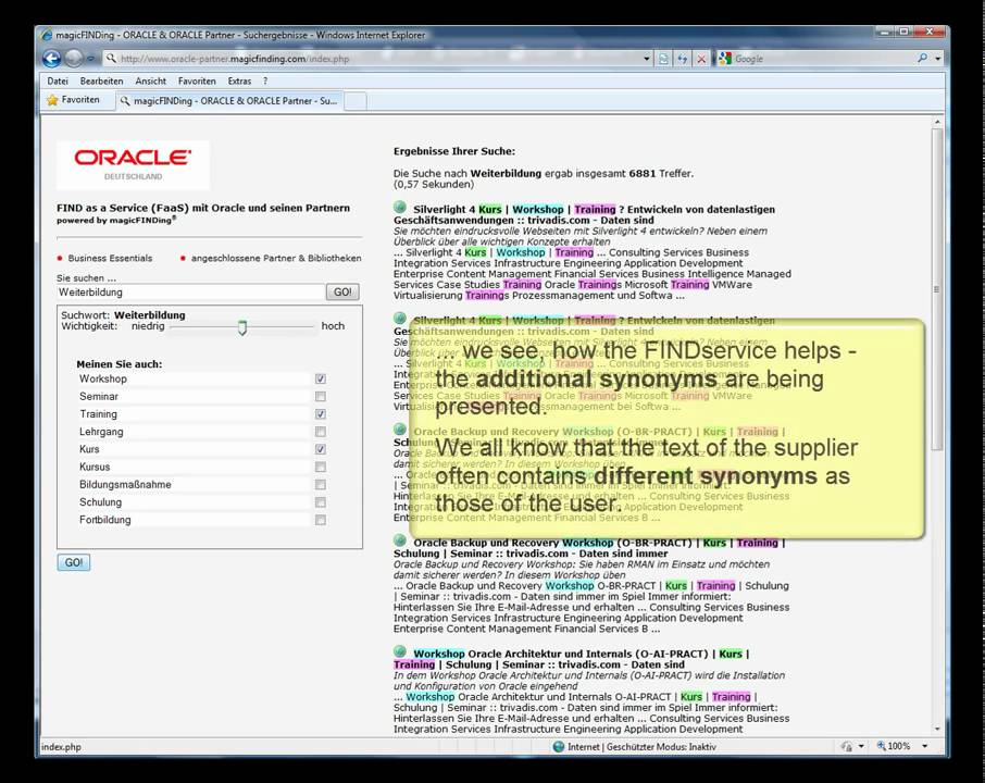 FINDservice magicFINDing - automatic synonyms & word stem recognition