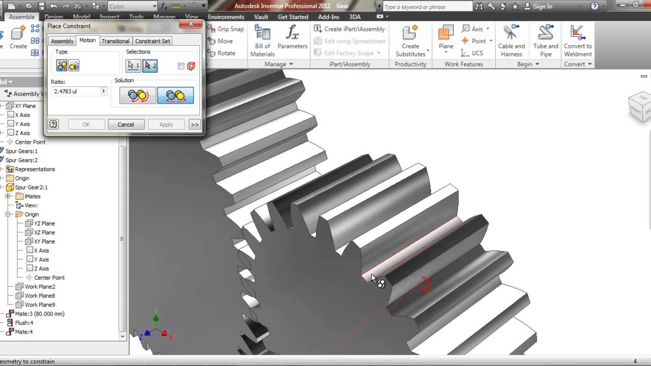 Tutorial autodesk inventor gear animation youtube ccuart Image collections
