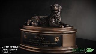 Golden Retriever Pet Cremation Urn By Perfect Memorials