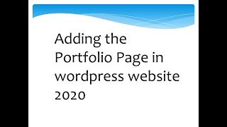 Adding the Portfolio Page in wordpress website 2020