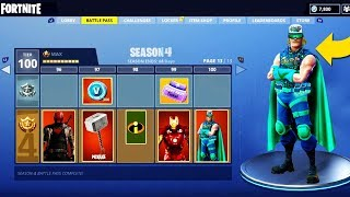 'NOUVEAU' SEASON 4 BATTLE PASS TIER 100 SUPERHERO THEMED SKINS SHOWCASE - Fortnite: Battle Royale