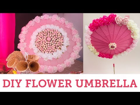 DIY Flower Umbrella Bridal Shower Parasol | BalsaCircle.com