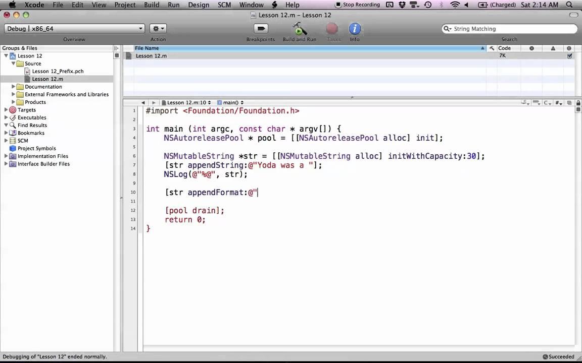 Objective-C on the Mac L12 – NSMutableString