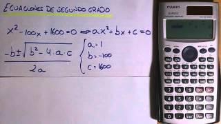 Ecuaciones de segundo grado con calculadora