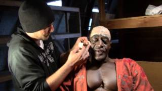 In the make up chair with Xango Henry (Killer Croc)