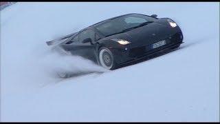 Reiter Lamborghini Gallardo street car ascending a ski slope in Flachau