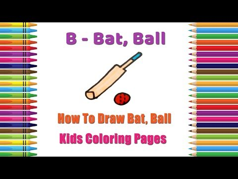 How to Draw Bat, Ball Coloring Pages   Alphabets Coloring Pages   Baby Coloring Videos thumbnail