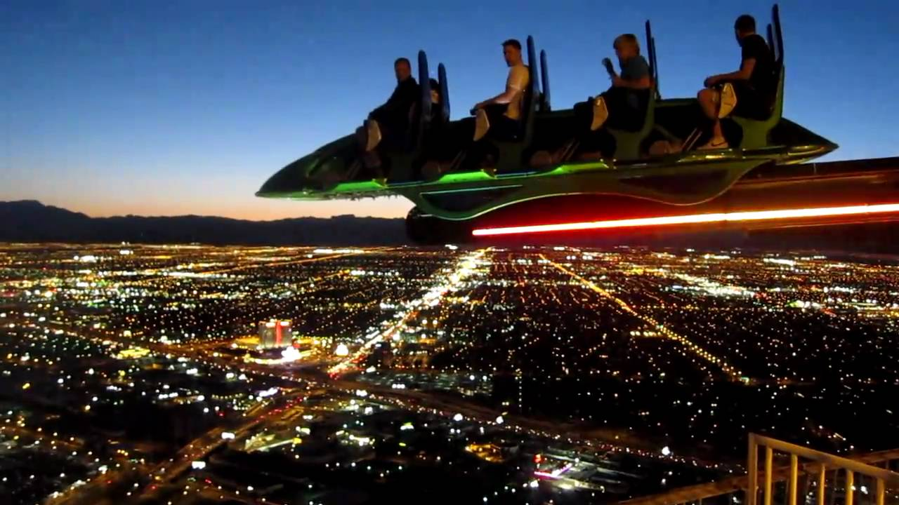 Las Vegas by night - X Scream ride on Stratosphere - YouTube